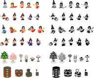 Pictogrammen van Meisjesfestival in Japan vector illustratie