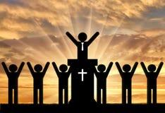 Pictogrammen van mensen die Christendom prediken stock fotografie