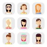 Pictogrammen van mensen in een vlakke stijl Stock Foto