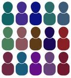 Pictogrammen van mensen van verschillende kleuren rooster Stock Foto