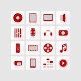 Pictogrammen van multimedia Stock Illustratie