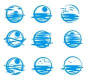 Pictogrammen van overzees. Stock Afbeeldingen