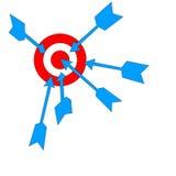 Pictogrammen van pijlen en doelstellingen rooster Stock Foto's