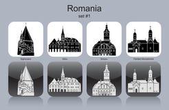 Pictogrammen van Roemenië Stock Afbeelding