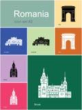 Pictogrammen van Roemenië Royalty-vrije Stock Afbeeldingen