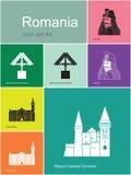 Pictogrammen van Roemenië Stock Fotografie