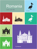 Pictogrammen van Roemenië Stock Afbeeldingen