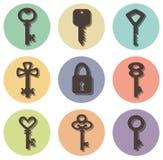Pictogrammen van sleutels van verschillende vormen Stock Afbeelding