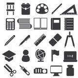 Pictogrammen van studiemateriaal Stock Afbeeldingen
