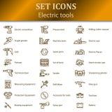 Pictogrammen van verschillende elektrische gereedschappen voor online opslag Stock Fotografie