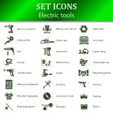 Pictogrammen van verschillende elektrische gereedschappen voor online opslag Stock Foto's