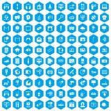 100 pictogrammen van verschillende media geplaatst blauw stock illustratie