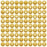 100 pictogrammen van verschillende media geplaatst gouden vector illustratie