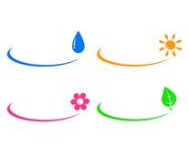 Pictogrammen van waterdaling, zon, bloem en groen blad Royalty-vrije Stock Afbeeldingen