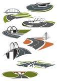 Pictogrammen van wegen met bruggen Royalty-vrije Stock Afbeelding