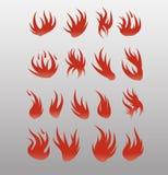 Pictogrammen vectorvlammen Geplaatst brandpictogram - de veiligheid leidt tot welvaart royalty-vrije illustratie