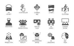 15 pictogrammen in vlakke stijl van de vergrote technologie van werkelijkheids digitale AR Futuristisch technologieconcept Vector royalty-vrije illustratie
