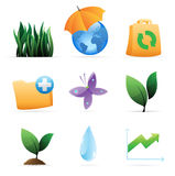 Pictogrammen voor aard, energie en ecologie Stock Fotografie