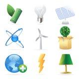 Pictogrammen voor aard, energie en ecologie Stock Afbeelding