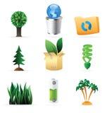 Pictogrammen voor aard, energie en ecologie Stock Foto's