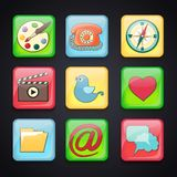 Pictogrammen voor apps Stock Afbeeldingen