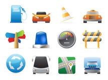 Pictogrammen voor auto's en wegen Stock Afbeeldingen