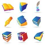 Pictogrammen voor boeken Stock Afbeelding