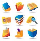 Pictogrammen voor boeken en documenten Stock Fotografie