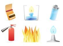 Pictogrammen voor brand Stock Foto's