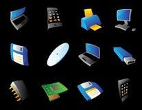 Pictogrammen voor computer en apparaten Stock Foto's
