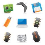 Pictogrammen voor computer en computerdelen Stock Foto