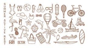 Pictogrammen voor de zomerrust of actieve recreatiepunten royalty-vrije illustratie