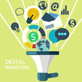 Pictogrammen voor digitale marketing Royalty-vrije Stock Fotografie