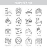 Pictogrammen voor diverse aspecten van thuis het houden van huisdieren Stock Foto's