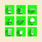 Pictogrammen voor ecologie Stock Afbeelding