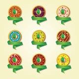 Pictogrammen voor een winkel die donuts verkopen Stock Foto's