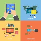 Pictogrammen voor elektronische handel, levering die, online shopoing Stock Foto's