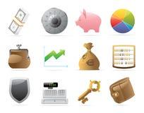 Pictogrammen voor financiën, geld en veiligheid Royalty-vrije Stock Fotografie