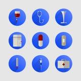 Pictogrammen voor geneeskunde Stock Fotografie