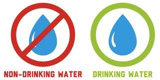 2 pictogrammen voor het drinken van en niet-drinkt water Stock Afbeeldingen