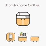 Pictogrammen voor huismeubilair Stock Foto's