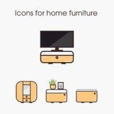 Pictogrammen voor huismeubilair Royalty-vrije Stock Afbeeldingen