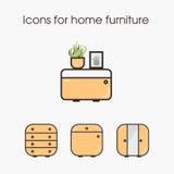 Pictogrammen voor huismeubilair Stock Afbeeldingen
