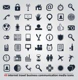 Pictogrammen voor Internet, reis, mededeling en media Royalty-vrije Stock Afbeeldingen