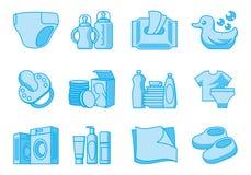 Pictogrammen voor pasgeboren en moederlevering Stock Foto
