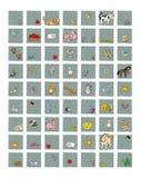 Pictogrammen voor plaatsen en dierlijk voedsel de melkkoe met de bij van kippeneieren met honingskonijn, de varkens van schapenap stock illustratie