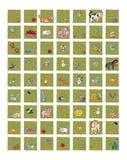 Pictogrammen voor plaatsen en dierlijk voedsel de melkkoe met de bij van kippeneieren met honingskonijn, de varkens van schapenap vector illustratie
