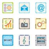 Pictogrammen voor slimme telefoon Stock Foto's