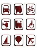 Pictogrammen voor verschillend soort vervoer Stock Afbeelding