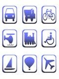 Pictogrammen voor vervoer Stock Afbeelding